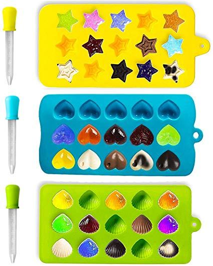 Joyoldelf 3 Stück Süßigkeit Formen & Eiswürfelbehälter